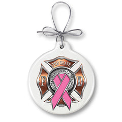 Firefighter Race For A Cure Christmas Tree Ornaments