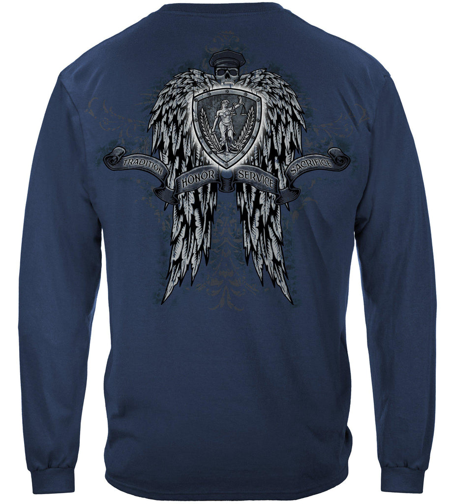 Police Law Enforcement Skulls Wings Full Premium Long Sleeve T-Shirt