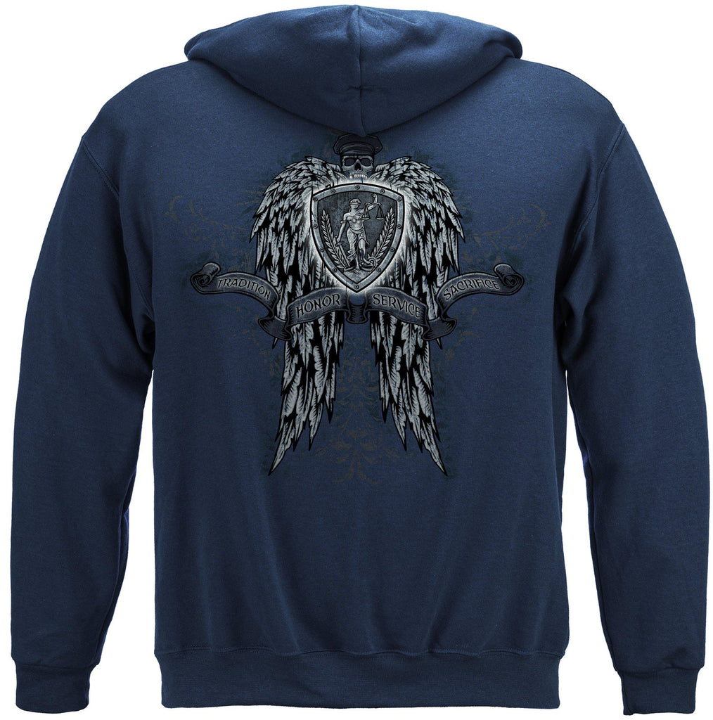 Police Law Enforcement Skulls Wings Full Premium Hoodie Sweatshirt