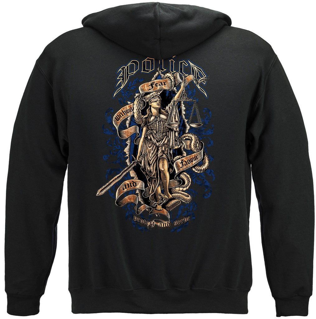 Police Law Enforcement Scales of Justice Full Front Premium Hoodie Sweatshirt