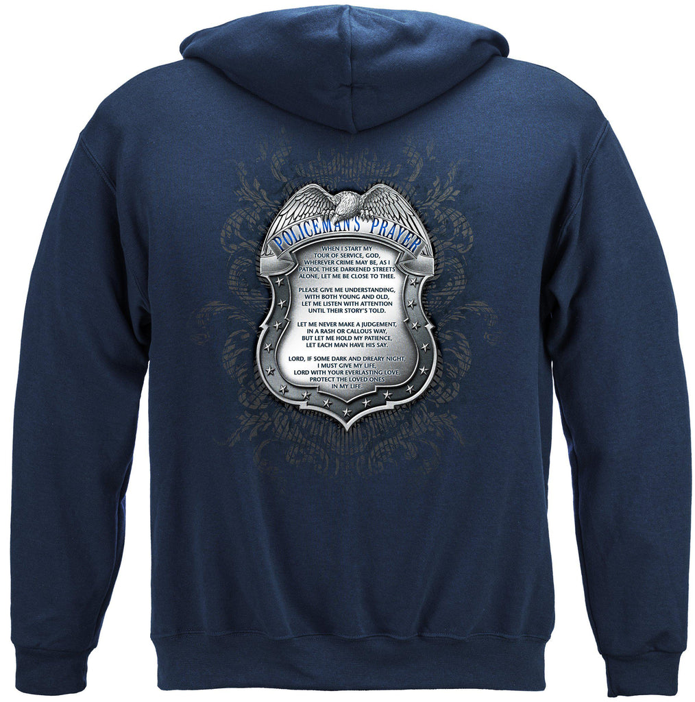 Police Policeman's Law Enforcement Chrome Badge Prayer Premium Hoodie Sweatshirt