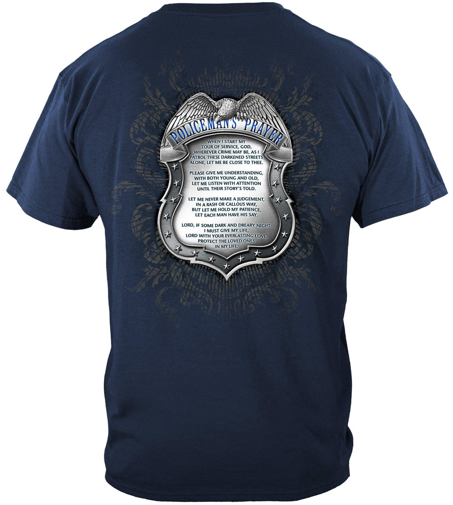 Police Policeman's Law Enforcement Chrome Badge Prayer Premium T-Shirt