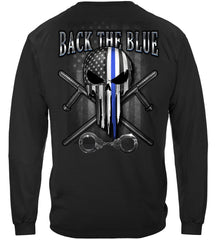 Police Back the Blue Law Enforcement Freedom Skull Premium Long Sleeves