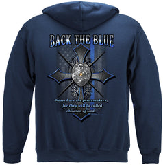 Police Back the Blue Matthew 5:9 Christian Shirt Premium Hoodie Sweatshirt
