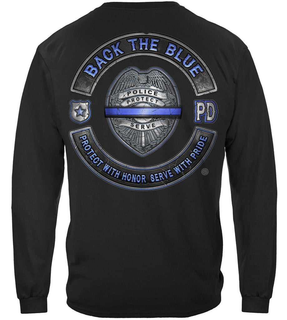 Police Back the Blue Blue Lives Matter Serve and Protect Law Enforcement Premium Long Sleeve T-Shirt