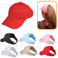 100% Cotton Ponytail Visor Baseball Caps Hats Flex Elastic Closure Womens Girls