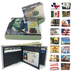 Printed Designs Bifold Wallets In Gift Box Cash Card Id Slots Mens Womens Youth