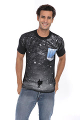 Surf Snowstorm Design T-Shirt Tee Soft Printed Pocket- Black