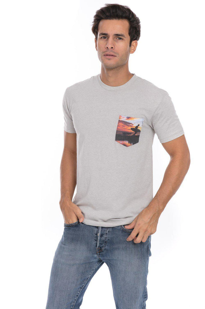Sunset Surfer Wind Air Surfing T-Shirt Tee Soft Printed Pocket Mens