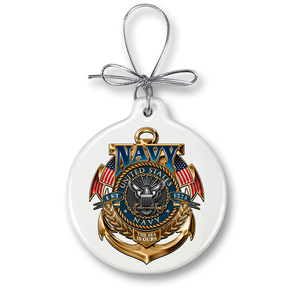 US Navy The Sea Is Ours Christmas Tree Ornaments
