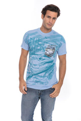 Tuna Fish Fishing Blue Water Soft T-Shirt Tee Printed Pocket - Blue