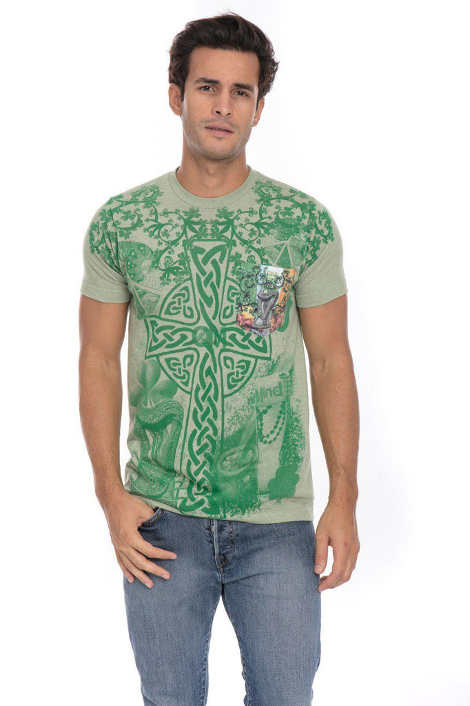 Saint Patrick'S Day Irish Heritage Four 4 Leaf Clover T-Shirt Tee Printed Pocket