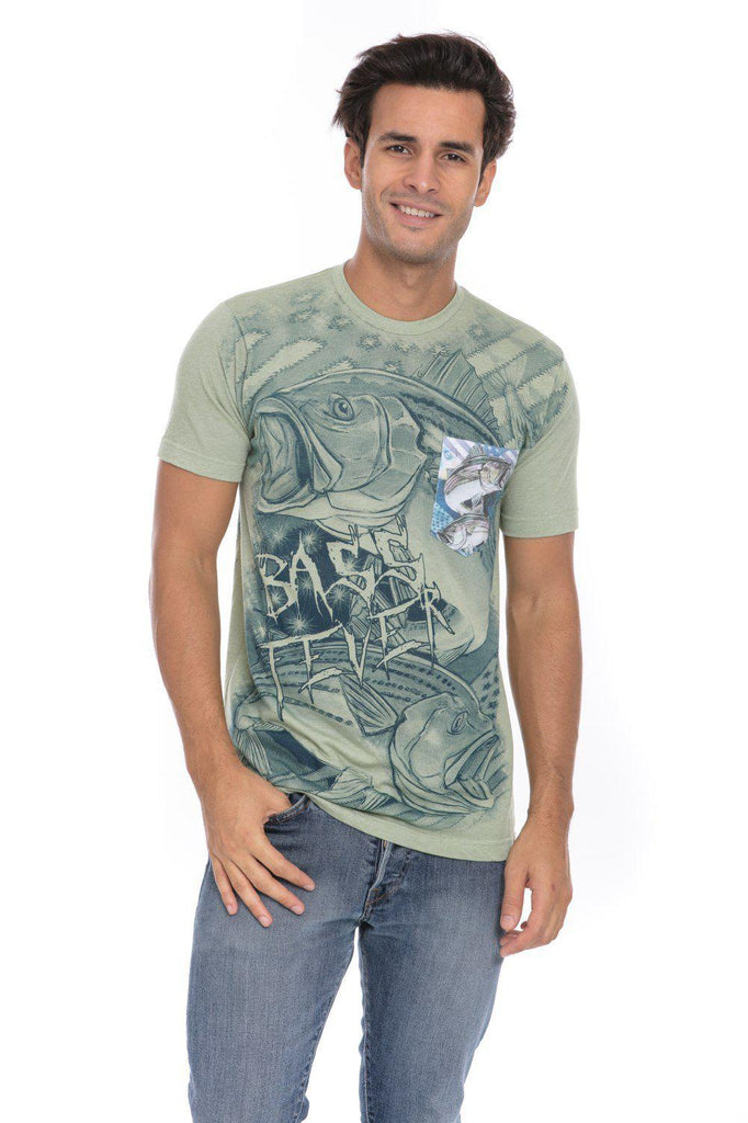 Striped Bass Fish Fishing Fever Open Mind Soft T-Shirt Tee Printed Pocket