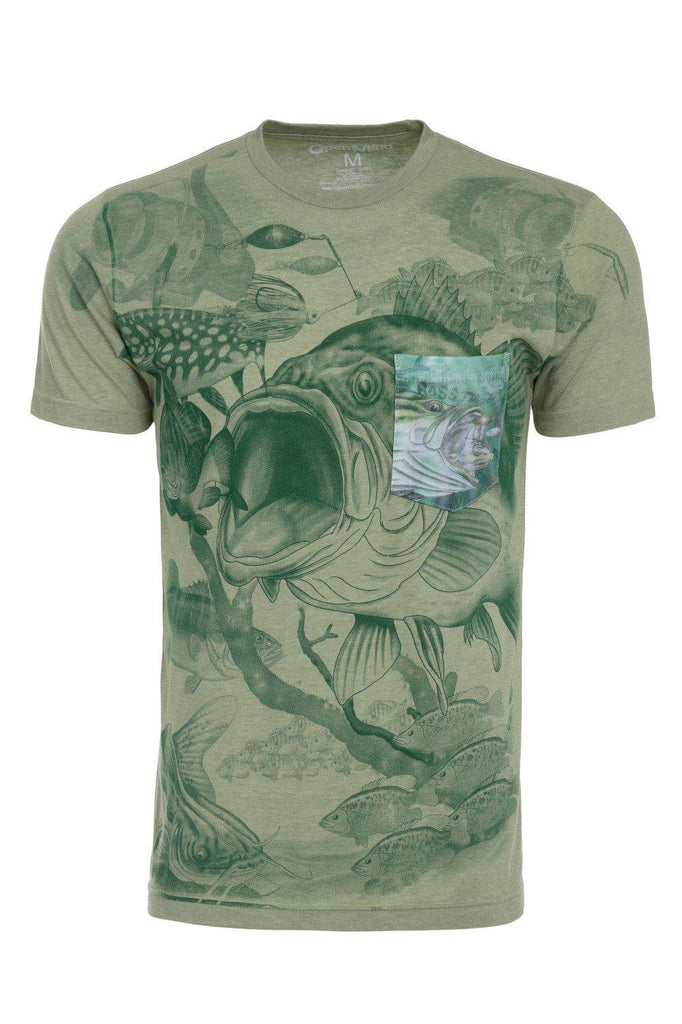 Large Mouth Bass Time Fish Fishing Soft T-Shirt Tee Printed Pocket Green