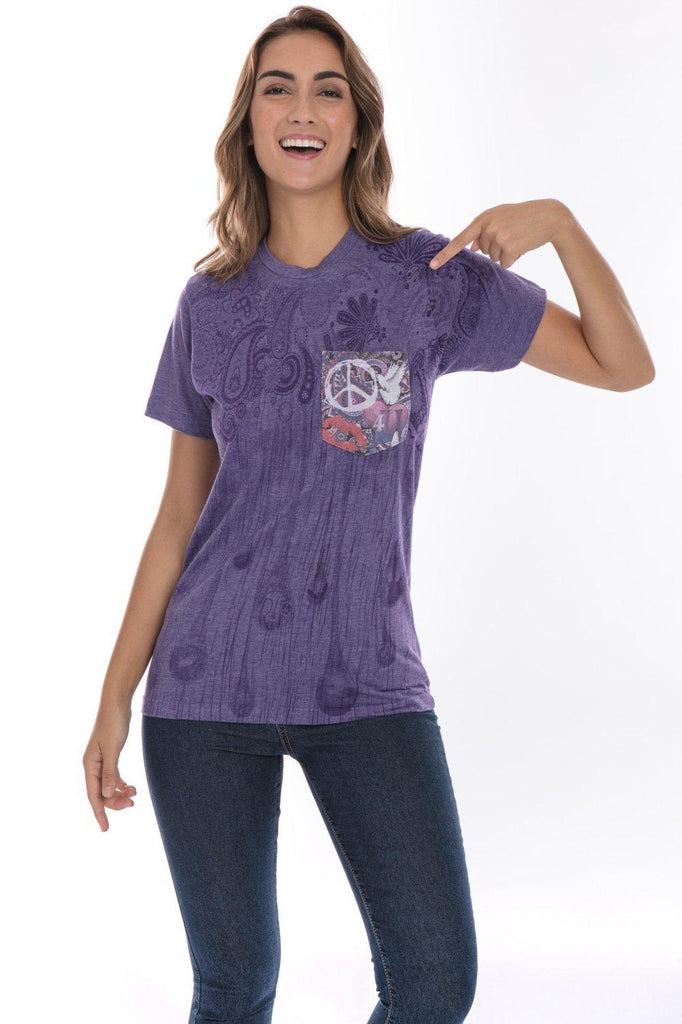 Purple Paisley Design Peace Sign Soft T-Shirt Tee Printed Pocket