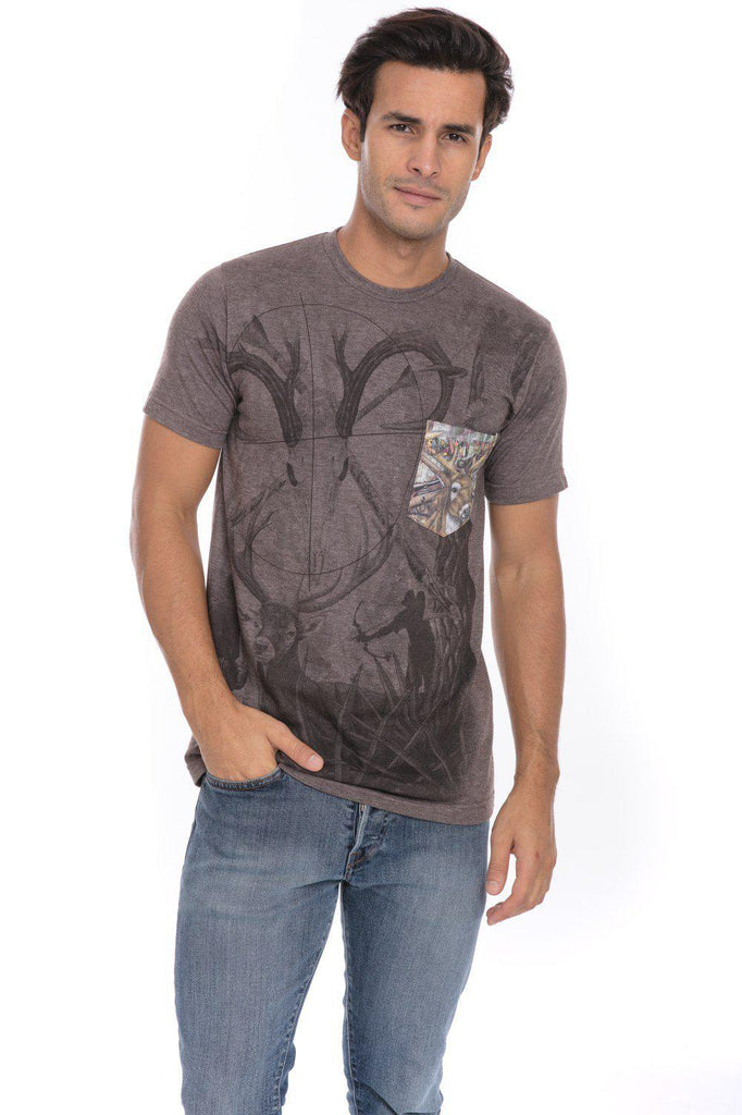 Camo Wild Life Endangered Animals Soft T-Shirt Tee Printed Pocket Brown