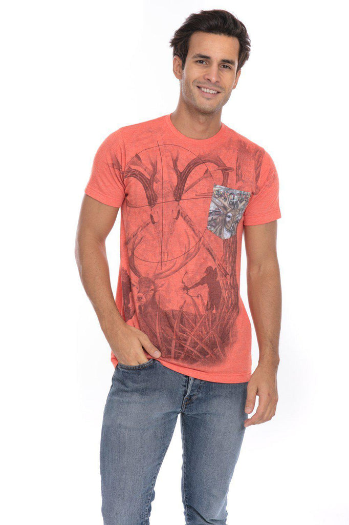 Camo Wild Life Endangered Animals Soft T-Shirt Tee Printed Pocket Orange