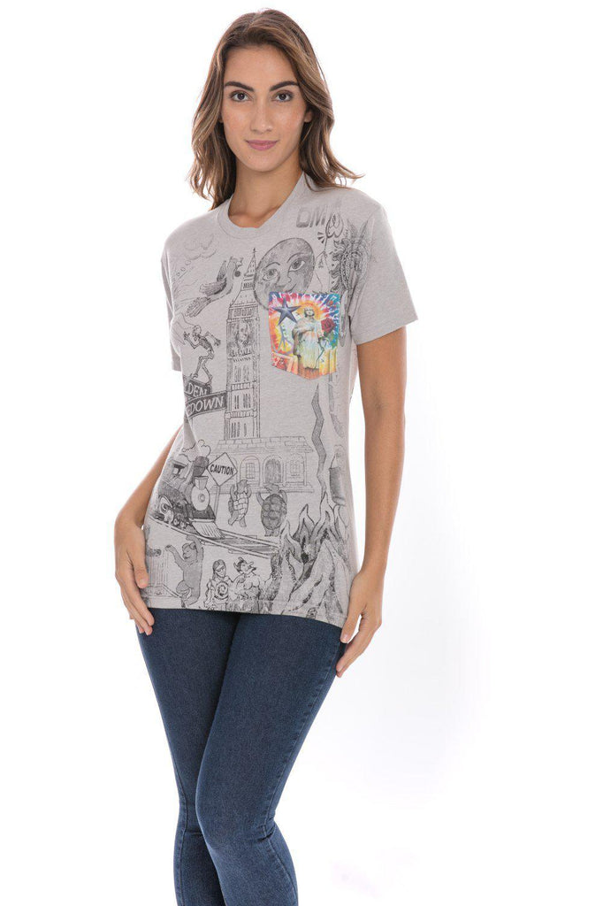 Dead Head Psychedelic On The Bus Peace Sign Soft T-Shirt Tee Printed Pocket