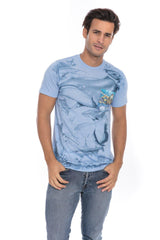 Sea Ocean Marine Aquatic Fish Life Soft T-Shirt Tee Printed Pocket Blue