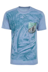 Kingfish Fishing Blue Water Soft T-Shirt Tee Printed Pocket - Blue
