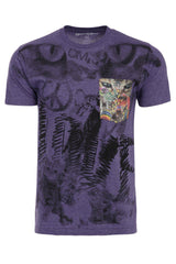 Cats Lover Peace Om Soft T-Shirt Tee Printed Pocket - Purple