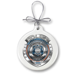 Police Honor Courage Sacrifice Badge Christmas Tree Ornaments