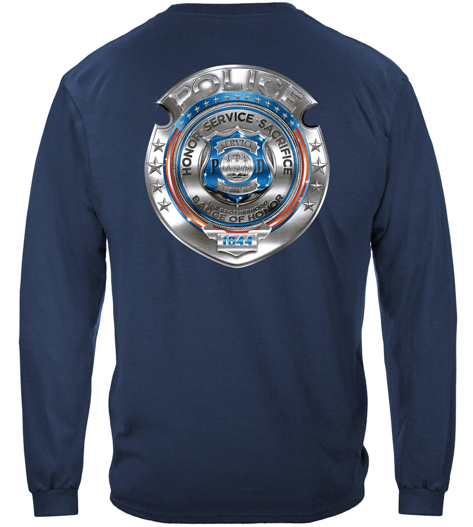 Police Honor Courage Sacrifice Badge Premium Long Sleeve T-Shirt