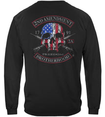 2nd Amendment Brotherhood Biker Skull and Flag Premium Long Sleeves Shirt