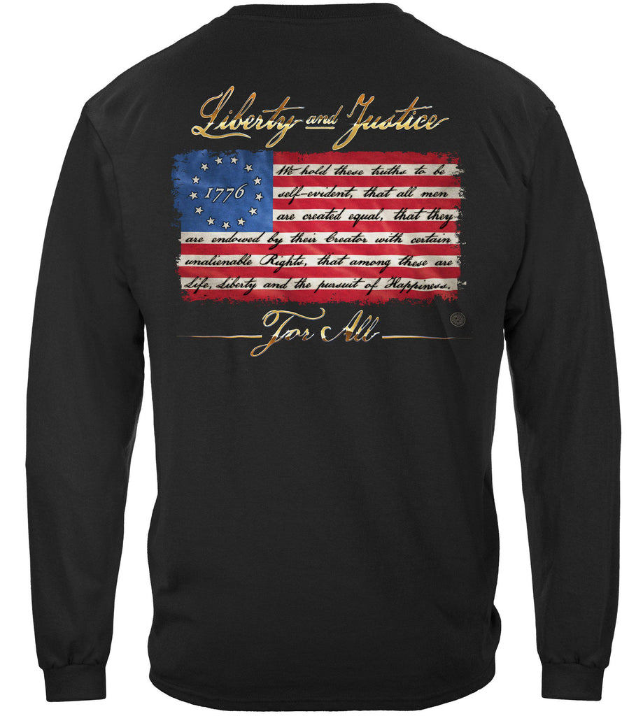 Patriotic 1776 betsy ross flag Liberty and Justice For All Premium Long Sleeves Shirt
