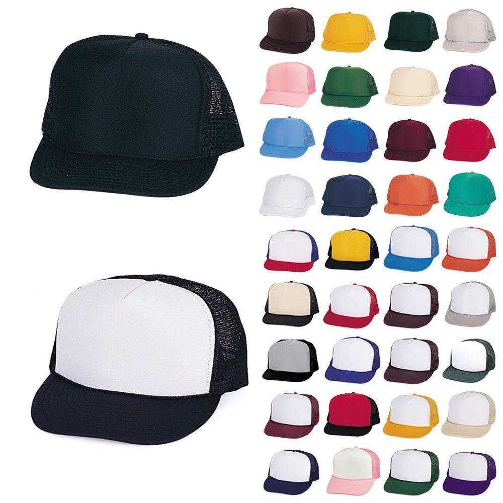 1 Dozen Trucker Baseball Hats Caps Foam Mesh Blank Adult Youth Kids Wholesale Bulk