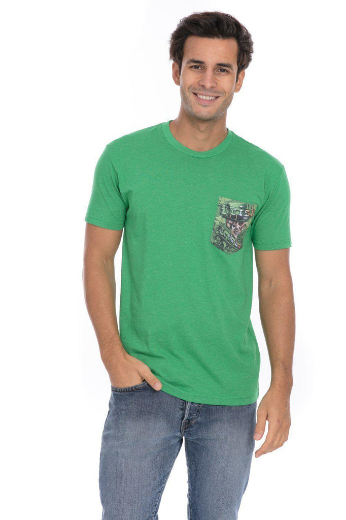 Irish To The Bone Pride Skull Soft T-Shirt Tee Printed Pocket Green