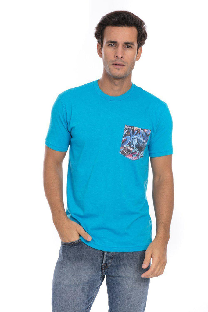 Skate Skateboard Skating Jump Soft T-Shirt Tee Printed Pocket Turquoise