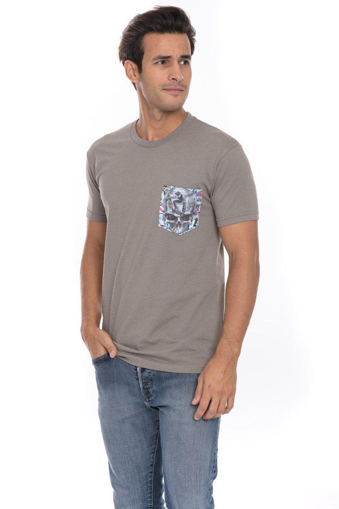 Skate Skull Skateboard Skating Jump Soft T-Shirt Tee Printed Pocket Grey