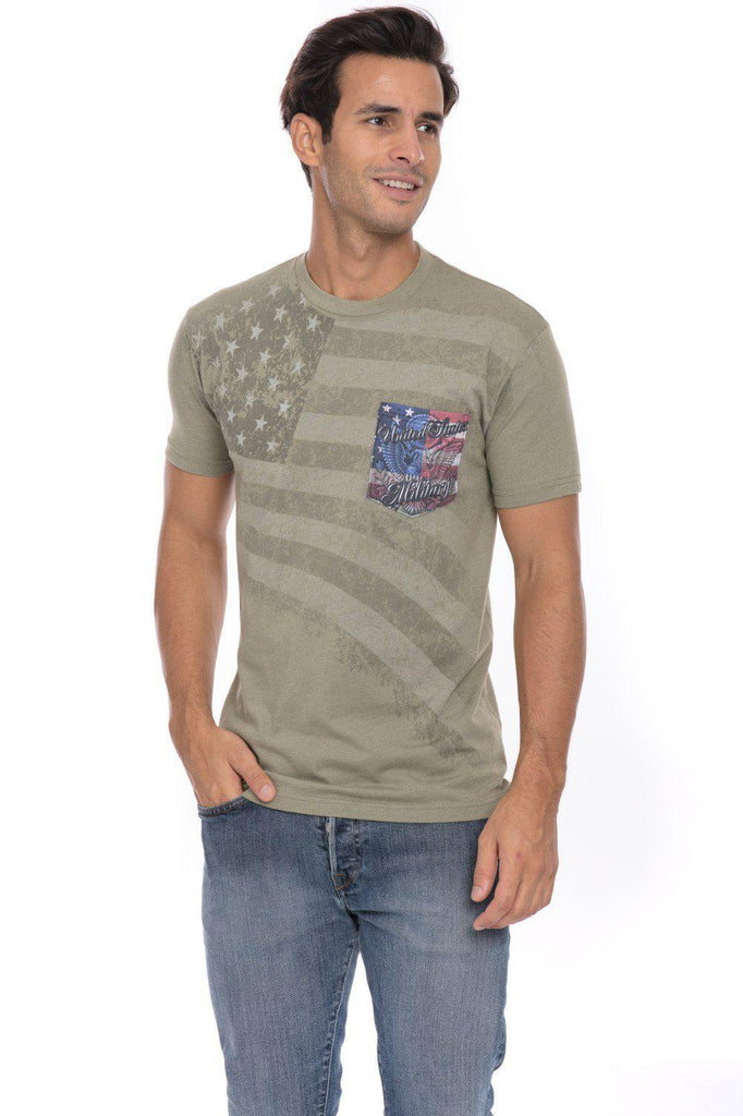 US United States American Flag Military Pride Soft T-Shirt Tee Pocket
