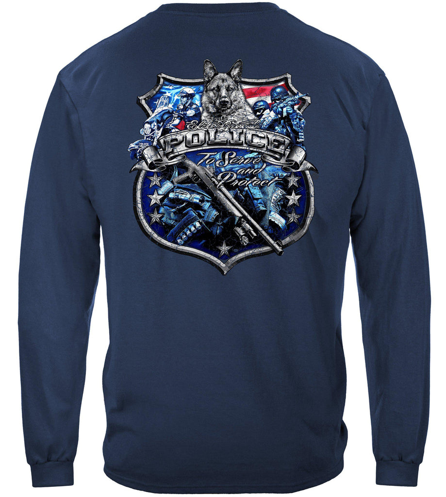 Elite Breed Police Force Serve and Protect Silver Foil Premium Long Sleeve T-Shirt