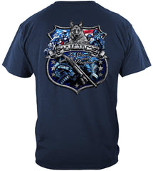 Elite Breed Police Force Serve and Protect Silver Foil Premium T-Shirt