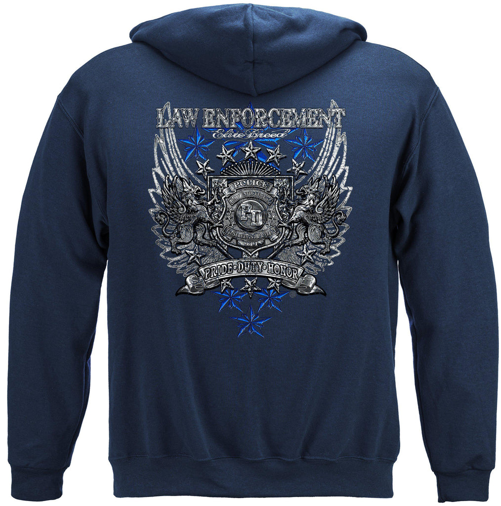 Elite Breed Law Enforcement Chrome Wings Silver Foil Premium Hoodie Sweatshirt