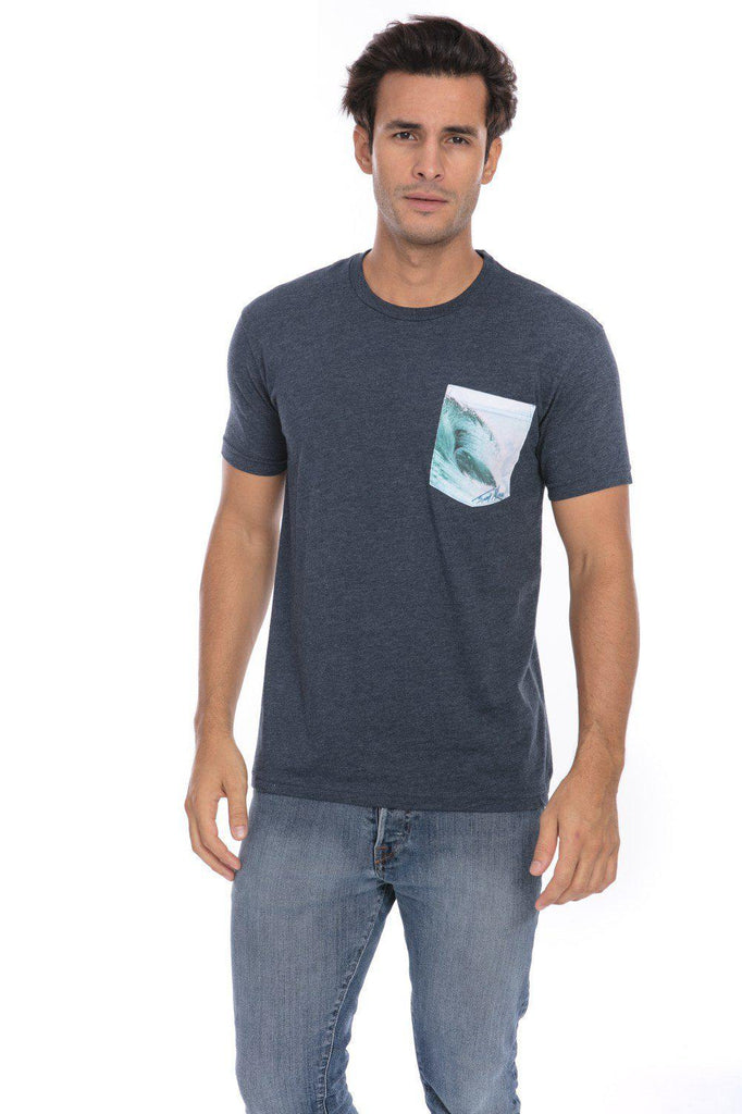 Surf Tube Surfing Surfer Soft T-Shirt Tee Printed Pocket Navy Blue