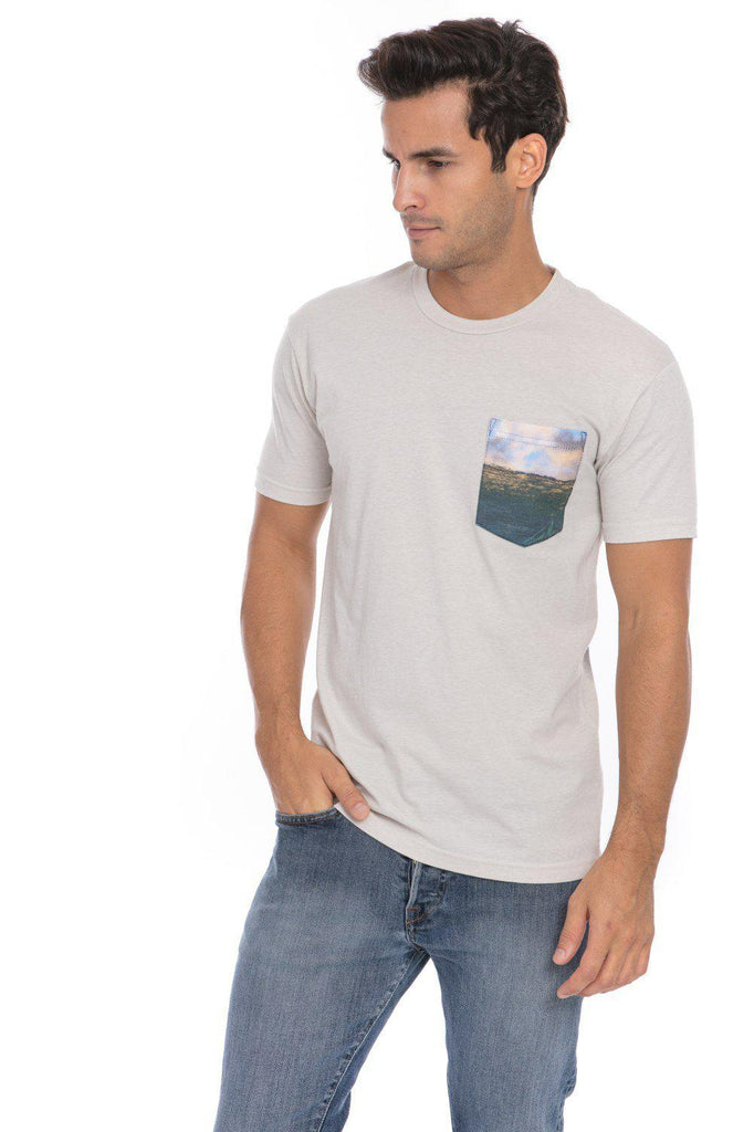 Wave Top Break Surf Surfing Surfer Soft T-Shirt Tee Printed Pocket