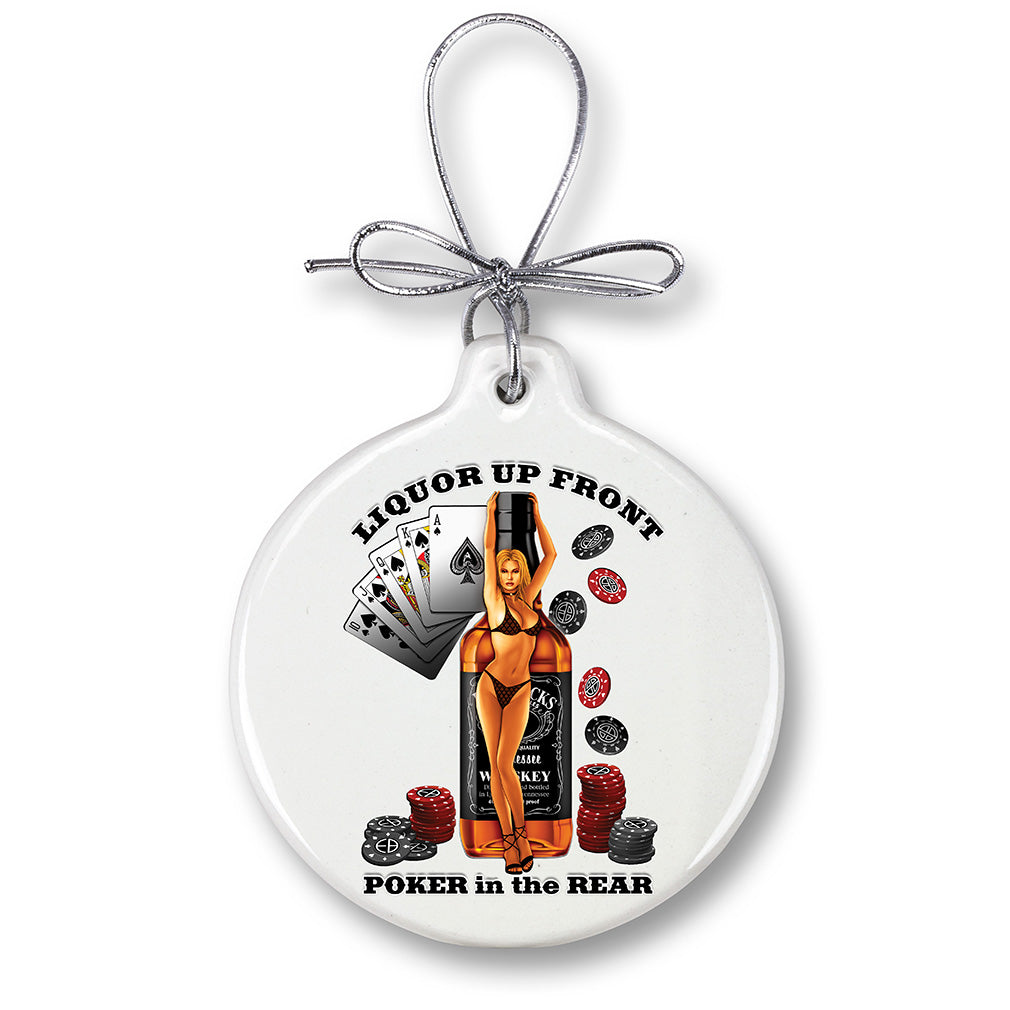 Liquor Up Front Poker Christmas Tree Ornaments