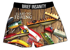 Brief Insanity Lured to Fishing Boxers Silky Funny Boxer Shorts Gifts for Men