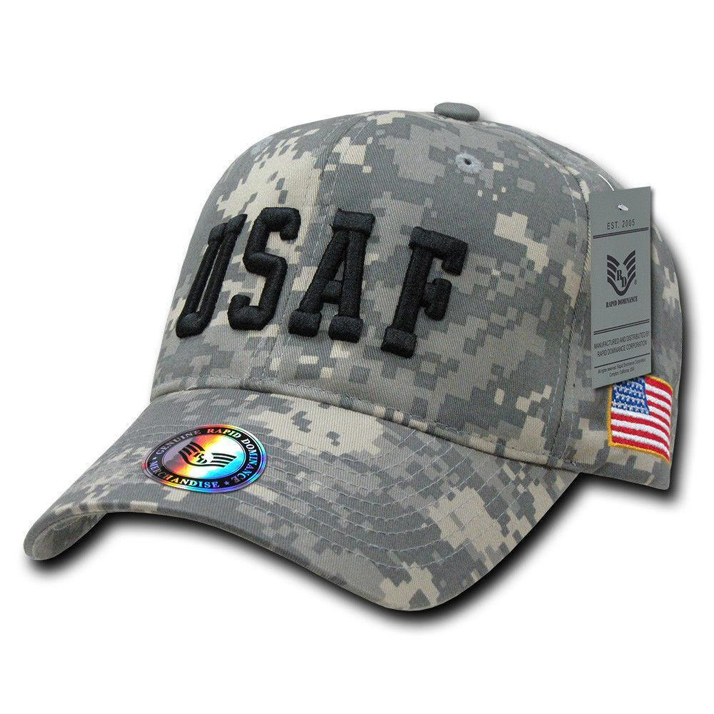 Rapid Dominance Air Force USAF Text Flag Acu Ucp Digital Washed Cotton Camouflage Caps Hats