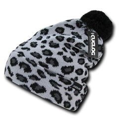 Atakora Fully Lined Youth Leopard White Beanies Pom Style Winter Caps Hats Ski