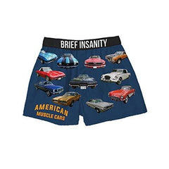 Brief Insanity American Muscle Vintage Cars Lovers Silky Mens Unisex Boxer Shorts