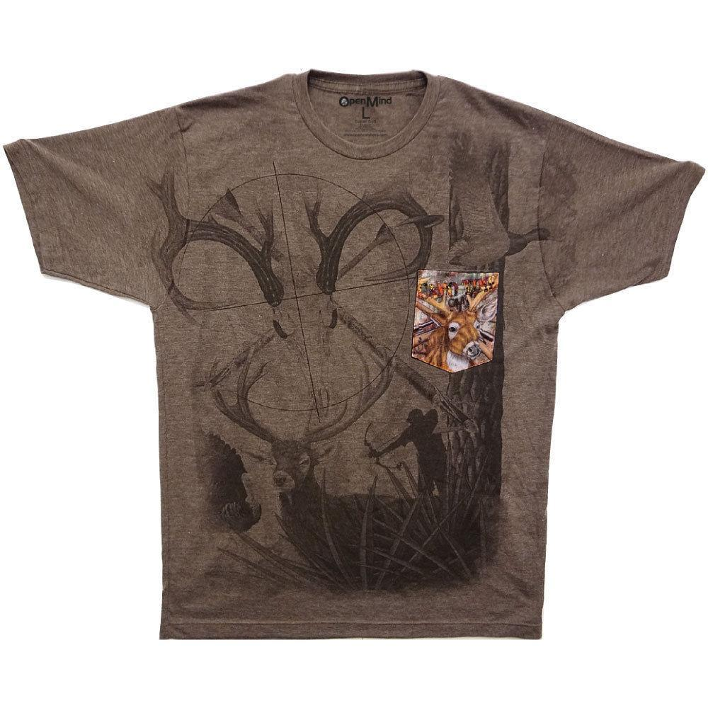 Camo Wild Life Hunting Game Soft T-Shirt Tee Printed Pocket  Brown