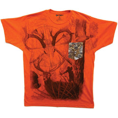 Camo Wild Life Hunting Game Soft T-Shirt Tee Printed Pocket  Orange