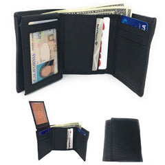 Casaba Genuine Leather Trifold Wallets Easy Flip Up Id Card Windows Mens Womens