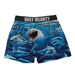 Brief Insanity Sharks Ocean Silky Funny Boxer Shorts Gifts for Men Women