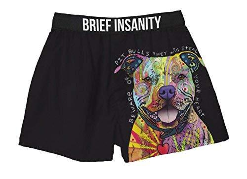 Brief Insanity Dean Russo Beware of Pitbulls Dog Lovers Silky Funny Boxer Shorts Gifts for Men