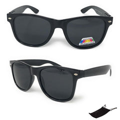 Classic Way Black Polarized Sunglasses with Pouch Great for Summer Unisex